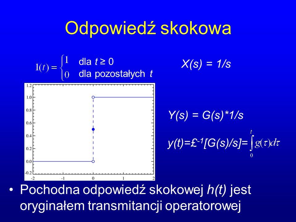 Odpowiedź skokowa dla t ≥ 0. dla pozostałych t. X(s) = 1/s. Y(s) = G(s)*1/s. y(t)=£-1[G(s)/s]=